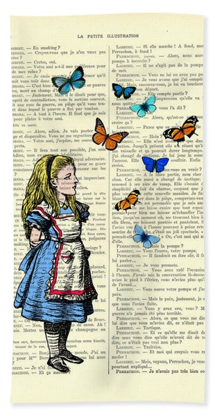 Alice With Blue And Orange Butterflies Beach Towel