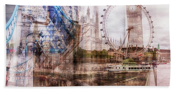 all famous building of London Beach Towel