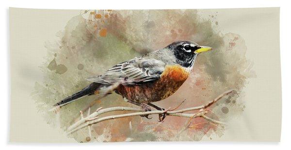American Robin - Watercolor Art Beach Towel