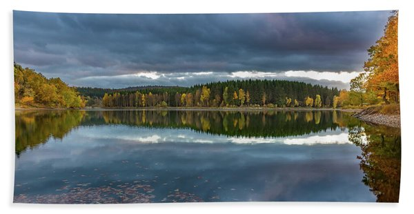 An Autumn Evening At The Lake Beach Towel