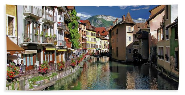 Annecy River View Beach Towel