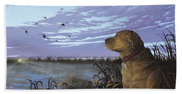 On Watch - Yellow Lab Beach Towel