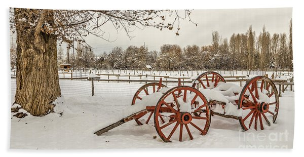 Antique Cart With Snow Beach Towel