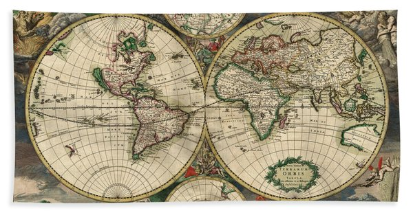 Antique Map Of The World - 1689 Beach Towel