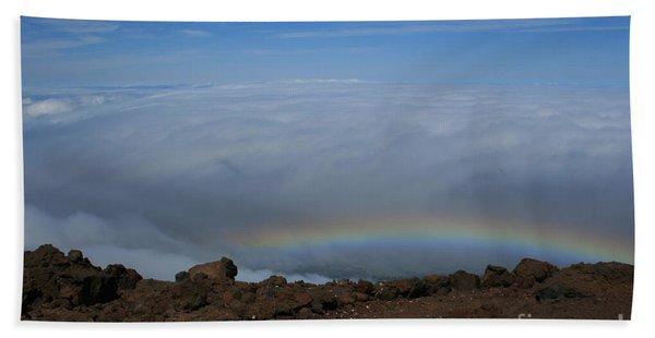 Anuenue - Rainbow At The Ahinahina Ahu Haleakala Sunrise Maui Hawaii Beach Towel