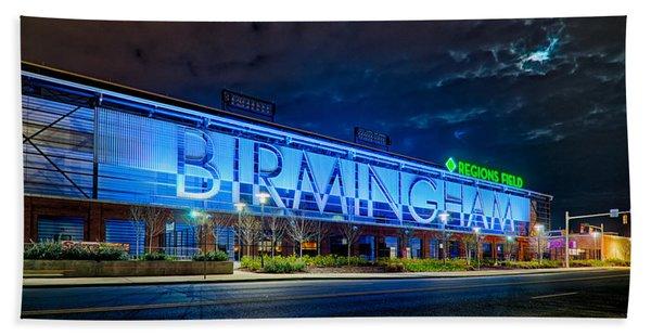 April 2015 -  Birmingham Alabama Baseball Regions Field At Night Beach Towel