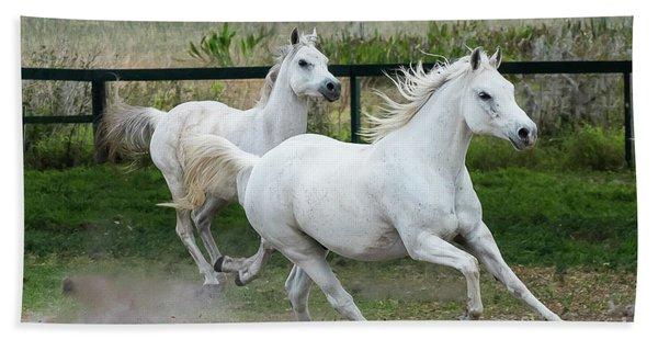 Arabian Horses Running Beach Towel