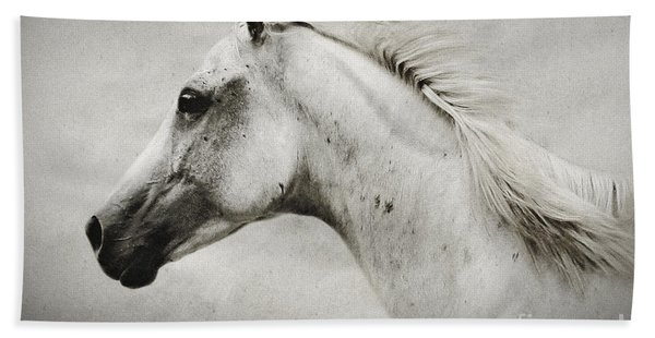 Arabian White Horse Portrait Beach Towel