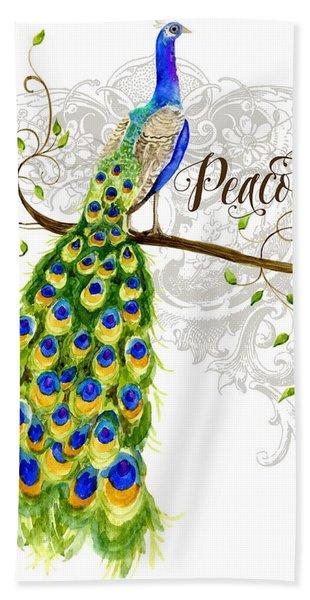 Art Nouveau Peacock W Swirl Tree Branch And Scrolls Beach Towel
