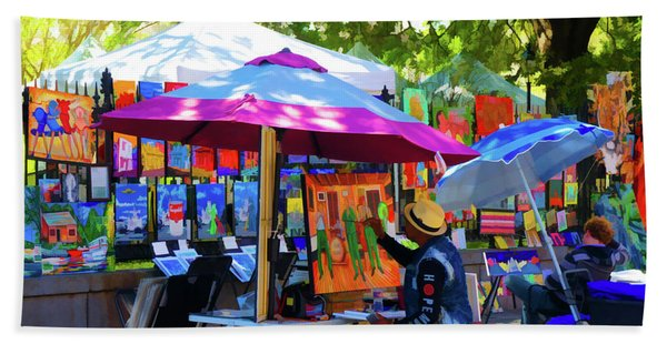 Artist Painting At Jackson Square, New Orleans, Louisiana Beach Towel
