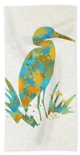 Heron Watercolor Art Beach Towel