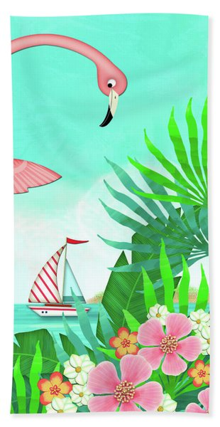 F Is For Flamingo Beach Towel