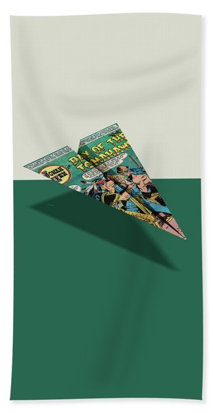 Day Of The Tomahawk Comic Book Page Paper Airplane Beach Towel