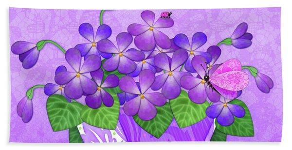 V Is For Violets Beach Sheet