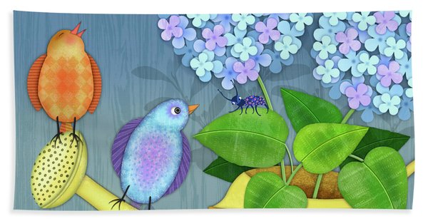 Two Birds On A Watering Can Beach Sheet