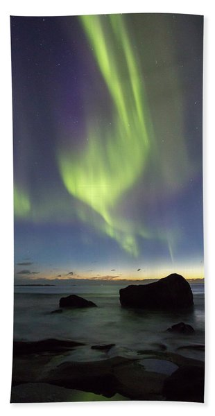 Aurora At Uttakleiv Beach Towel