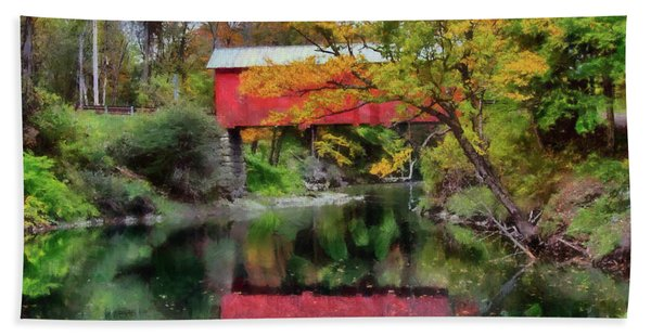 Beach Towel featuring the photograph Autumn Colors Over Slaughterhouse. by Jeff Folger
