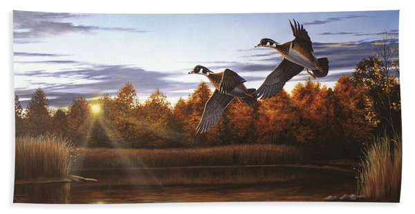 Autumn Home - Wood Ducks Beach Towel