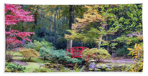 autumn  in Japanese park Beach Towel