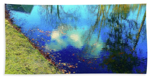 Autumn Reflection Pond Beach Towel