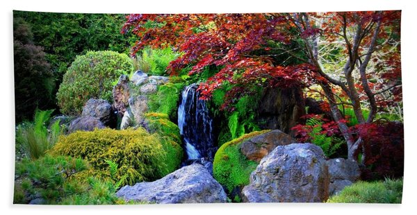 Autumn Waterfall Beach Towel