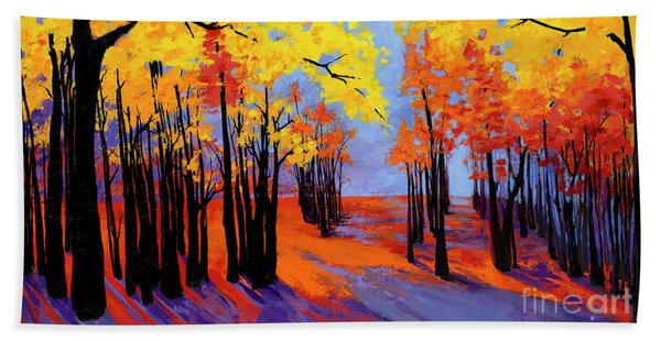 Autumnal Landscape Painting, Forest Trees At Sunset Beach Towel