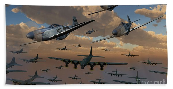 B-17 Flying Fortress Bombers And P-51 Beach Towel