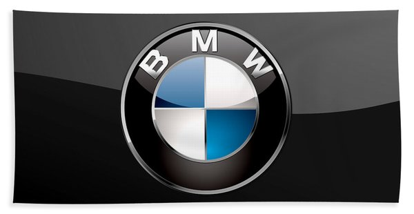 B M W  3 D Badge On Black Beach Towel
