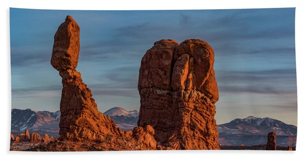 Balanced Rock Sunset Beach Towel