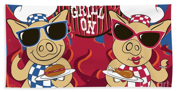 Barbecue Pigs Beach Towel
