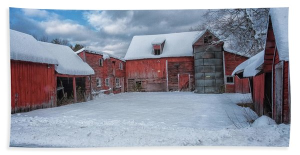 Beach Towel featuring the photograph Barns In Winter II by Tom Singleton