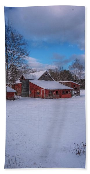 Beach Towel featuring the photograph Barns In Winter by Tom Singleton