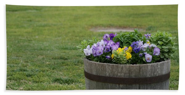 Barrel Of Flowers Beach Towel