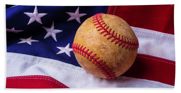Baseball And American Flag Beach Towel