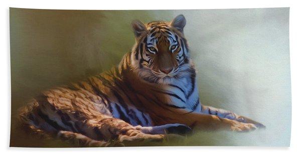 Be Calm In Your Heart - Tiger Art Beach Sheet