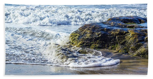 Wave Around A Rock Beach Towel