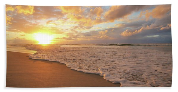 Beach Sunset With Golden Clouds Beach Towel