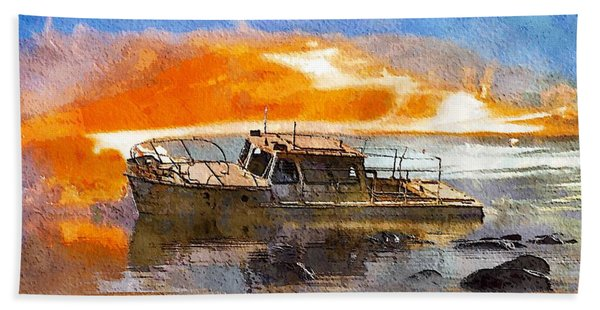 Beach Towel featuring the painting Beached Wreck by Mark Taylor