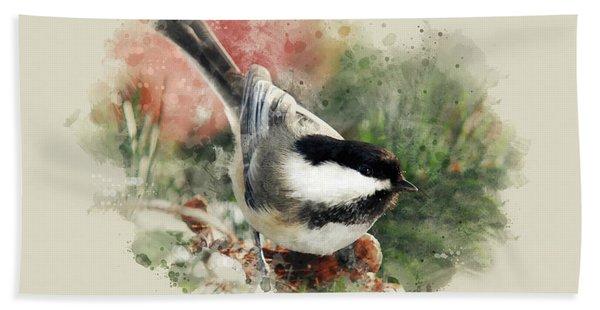 Beautiful Chickadee - Watercolor Art Beach Towel