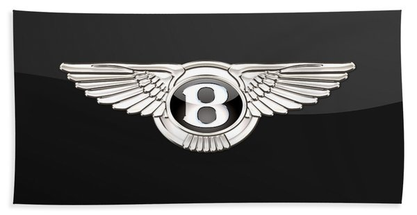 Bentley - 3 D Badge On Black Beach Towel