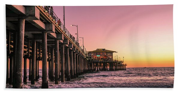 Beach Towel featuring the photograph Beside The Pier By Mike-hope by Michael Hope