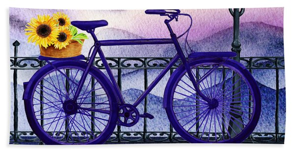 Blue Bicycle And Sunflowers By Irina Sztukowski  Beach Sheet