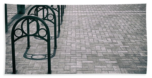 Beach Towel featuring the photograph Bike Rack Square by Michael Hope