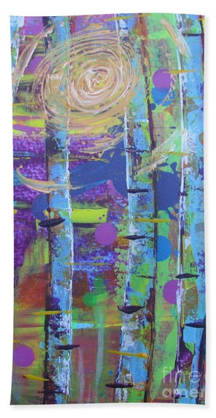 Beach Towel featuring the painting Birch 6 by Jacqueline Athmann