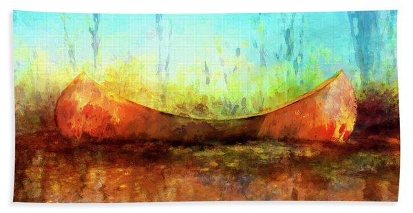Birch Bark Canoe Beach Towel