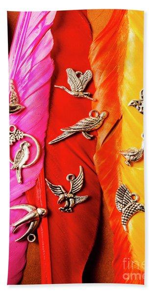 Bird Icons And Rainbow Feathers Beach Towel
