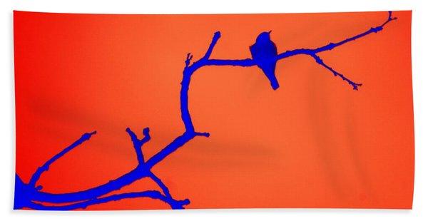 Bird On A Branch At Sunset Beach Towel