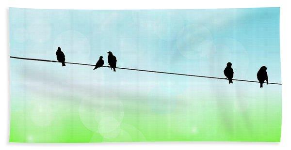 Birds Hanging Around Beach Towel