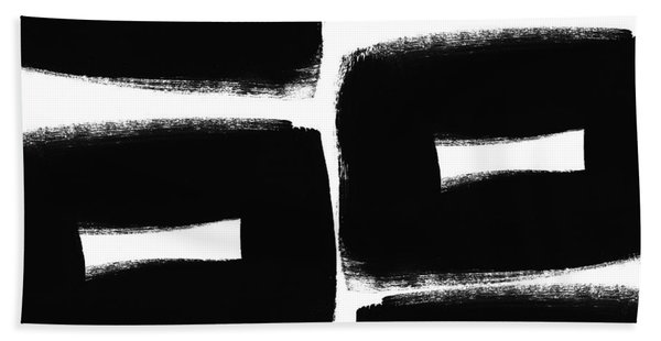 Black And White Abstract- Abstract Painting Beach Towel