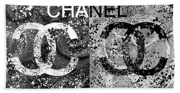 Black And White Chanel Art Beach Towel